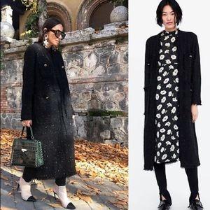 NWOT Zara Knit Fringed Coat
